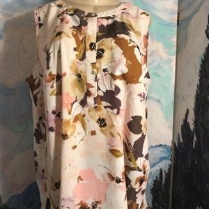 Premise Studio Beige/Pink Floral Tunic Tank Top